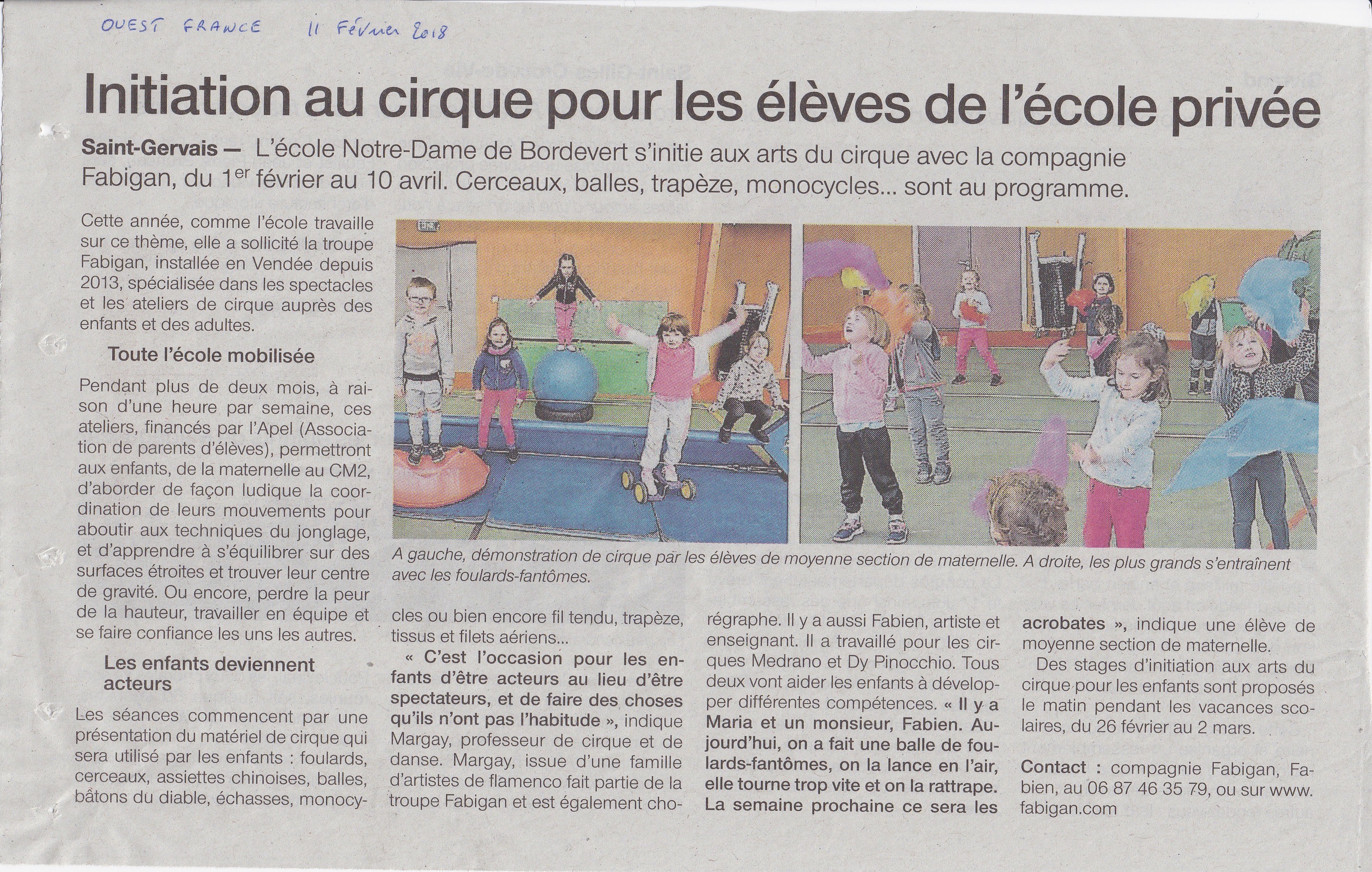 Projet cirque ecole privee St Gervais